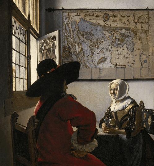 Veermer, Militar y muchacha riendo (ca. 1658)