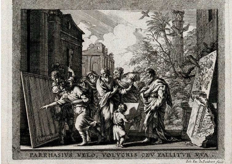 J.J. von Sandrart, Zeuxis y Parrasio (1683)